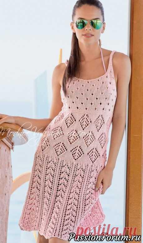 Ажурное платье на тонких бретелях   Вязание для женщин спицами.