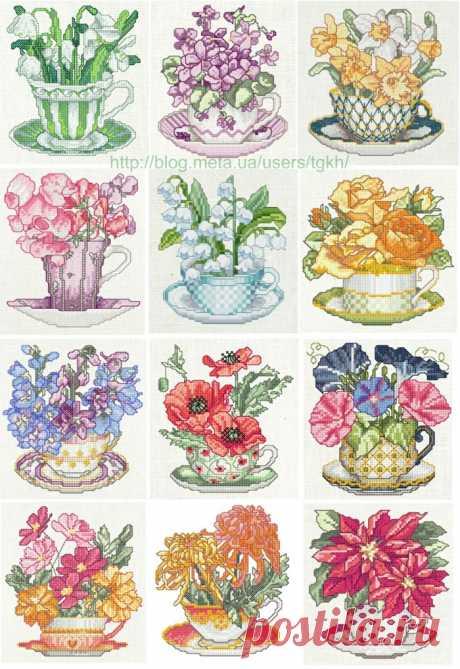 """Вышивка """"Календарь.Чашки с цветами"""""""