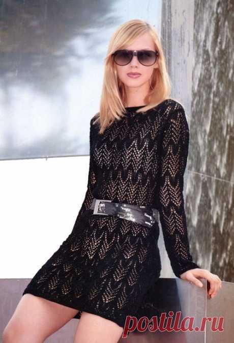 Ажурное вязаное платье спицами. Платье с длинным рукавом спицами | Вязание для всей семьи