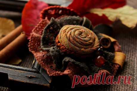 Создаем текстильную брошь «Симфония осенних листьев» – Ярмарка Мастеров