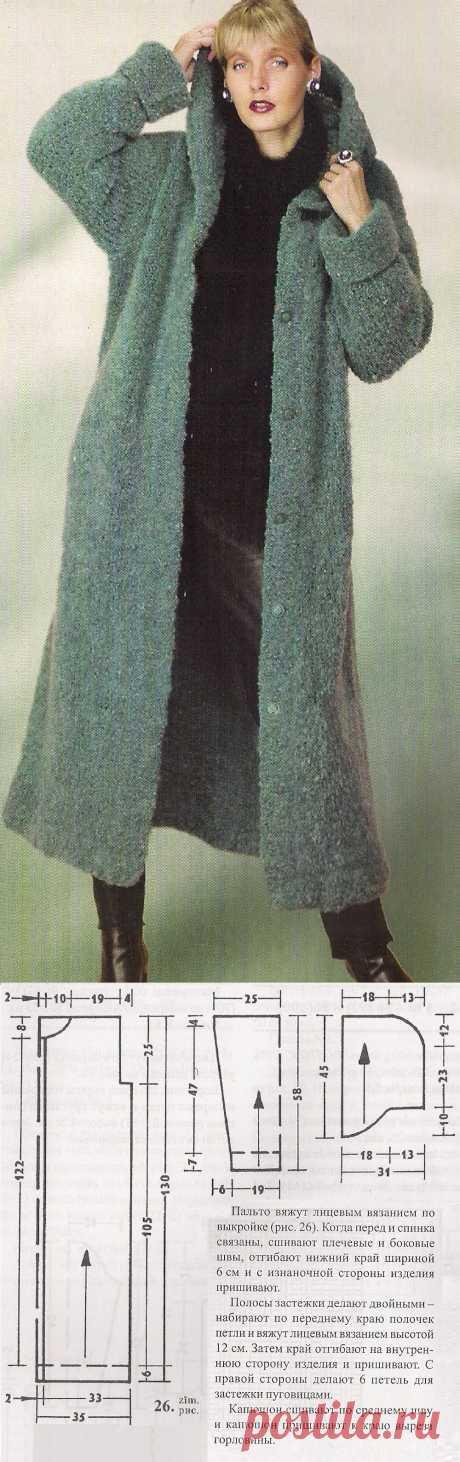Вязаное длинное пальто с капюшоном