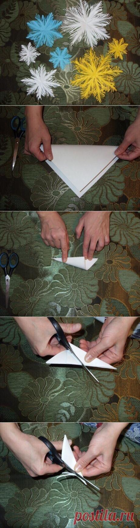Пушистая снежинка из бумаги. Новогодние украшения из бумаги своими руками |