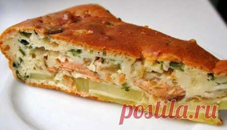 Рыбный зaливной пирoг с кaртошкой  Ингредиенты: -Яйца – 3 шт -Мука – 1 ст -Сметана – 0,5 ст -Майонез – 0,5 ст -Сода гашеная -Соль, перец -Картофель – 4-5 шт. -Рыба г/к ~300 гр. -или консервы – 2 шт. -Лук репчатый – 1-2 шт.  Приготовление: Смешать яйца, сметану, майонез, муку, соль, перец и гашеную соду – заливка готова. Форму (сковороду) смазать маслом. По дну разложить порезанный кружочками сырой картофель, сверху кружочки лука и на лук кусками рыбу. Всё это ...
