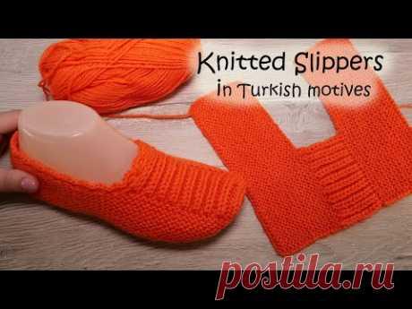 Следки на двух спицах по Турецким мотивам 🇹🇷  Orange knitted Slippers in Turkish motives 🎃