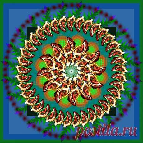 Мандала стихии огня с драконами.  ---   Green Patterned Mandala  Free Stock Photo HD - Public Domain Pictures