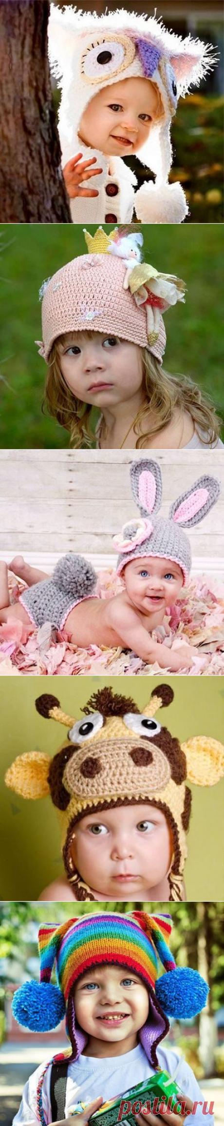 Идеи оригинальных вязаных шапок для детей