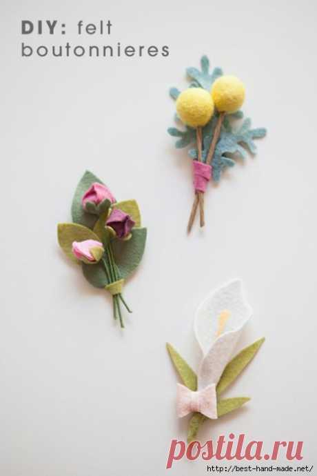 Красивые цветы из фетра от Jen, Калифорния. Мастер-классы.