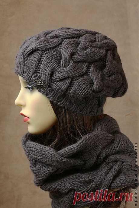 Комплект вязаный Carrie цвет Warm Grey - шапка вязаная,головные уборы для женщин