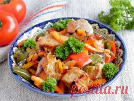 Курица, жареная с овощами, рецепт с фото.