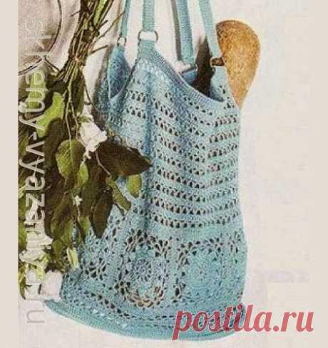 Бирюзовая сумка-сетка с цветами. Схема вязания крючком и описание.