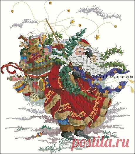 Дед Мороз скачать схему. Новогодние схемы вышивки крестом скачать бесплатно
