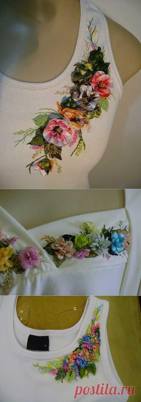 Артесанато Грако. Вышивка лентами на майках и блузах..