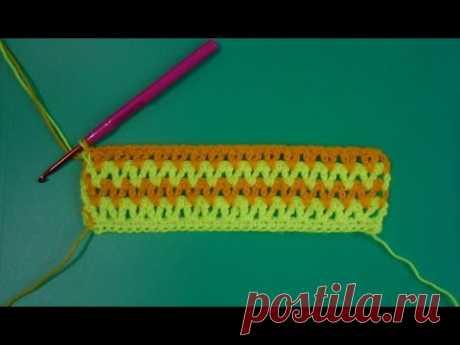 Цветной узор крючком - Color pattern crochet