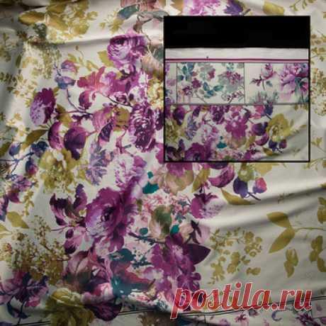 """Сатин-стретч """"Пионы"""" (белый,сиреневый,оливковый) - купить ткань онлайн через интернет-магазин ВСЕ ТКАНИ"""