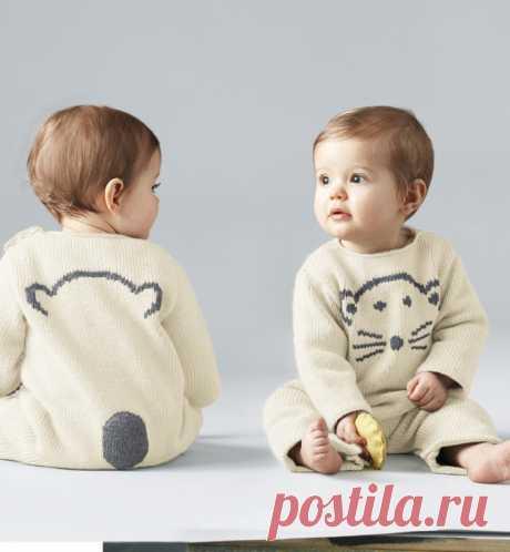 Детский комбинезон спицами с вышивкой - Портал рукоделия и моды