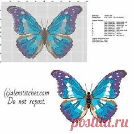 Butterfly Cross Stitch Patterns | ... beautiful blue and violet butterfly free cross stitch pattern download