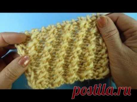 Начинаем вязать – Видео уроки вязания » Просто! Диагональный узор спицами для шапки – Узор спицами №44