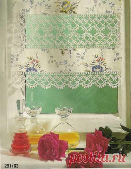 Идея для вязаной занавесочки, вы любите сочетание текстиля и вязаного полотна?
