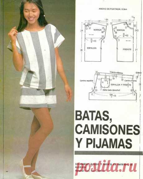 Выкройка домашней пижамы с шортами  #шитье #выкройки #моделирование #пижама