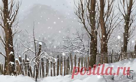 Иллюстрация Снегопад в окрестностях Местии