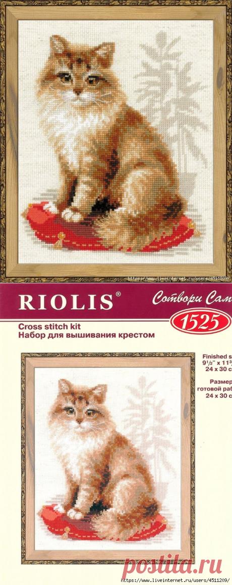 Кошка на подушке. Вышивка крестом.