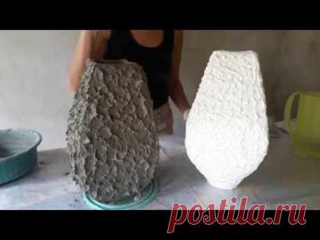 como fazer um lindo vaso usando papelão como base e acabamento com cimento - YouTube