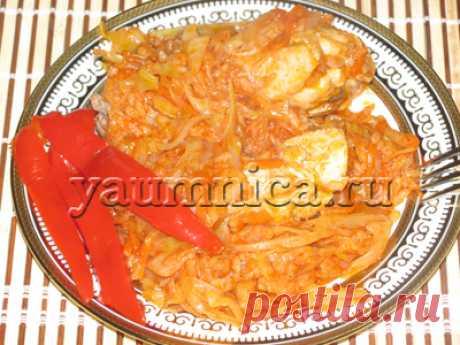 Тушёная капуста с рисом и курицей - Пошаговые рецепты с фото