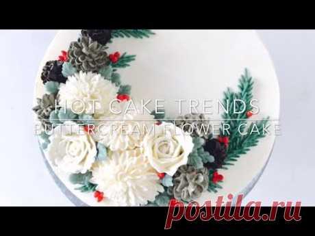 Как сделать Розы, хрозантемы и шишки из крема. Рождество
