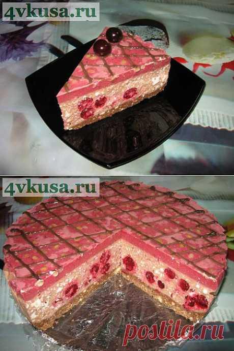 Творожно-шоколадный торт с вишней (торт без выпечки). Фоторецепт. | 4vkusa.ru