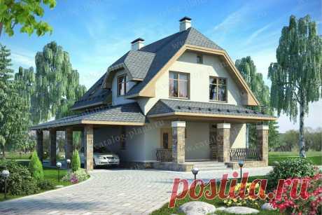 60-11 - Проект немецкого двухэтажного дома 155м². Терраса с навесом и три спальни.   Проекты Коттеджей   Яндекс Дзен