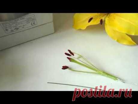 Используем свойства зефирного фоамирана для создания тычинкок для лилии. Под воздействием высоких температур поверхность становится гладкой и не видны следы ...