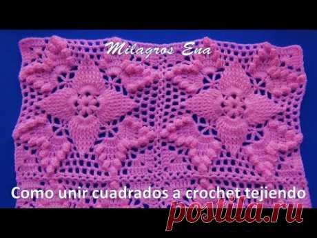 Como unir cuadrados a crochet tejiendo paso a paso en video tutorial
