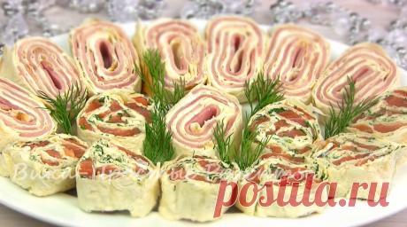 Две нарядные закуски из лавашных рулетов – идеальный рецепт если гости уже пришли!