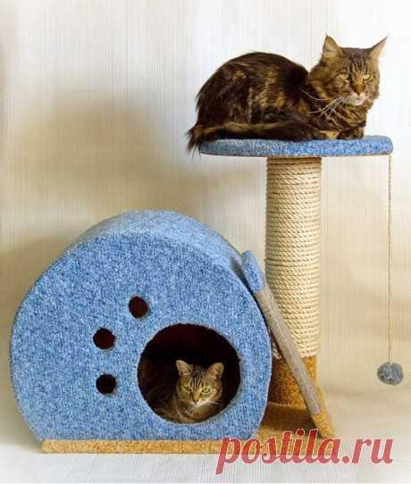 Домик для кошки с точилкой для когтей