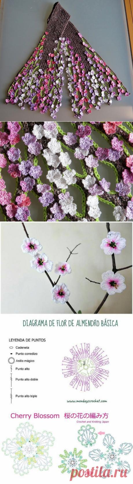 Шикарная идея для шарфика - цветочки крючком