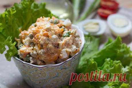 Салат из вареной морковки, яиц, сыра и горошка | Все Блюда