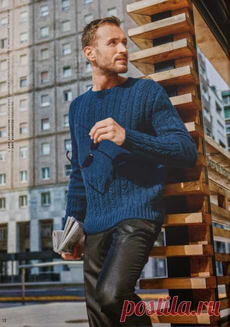 Вязание для мужчин пуловера с косами, Mani di Fata, 1, 2014 - Вяжи.ру