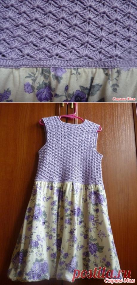 Комбинированное платье для девочки. Крючок - Вязание - Страна Мам