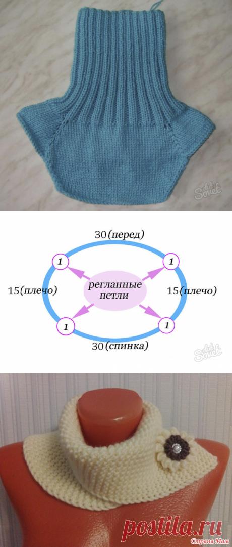Шарф манишка спицами для женщин, схема вязания с описанием