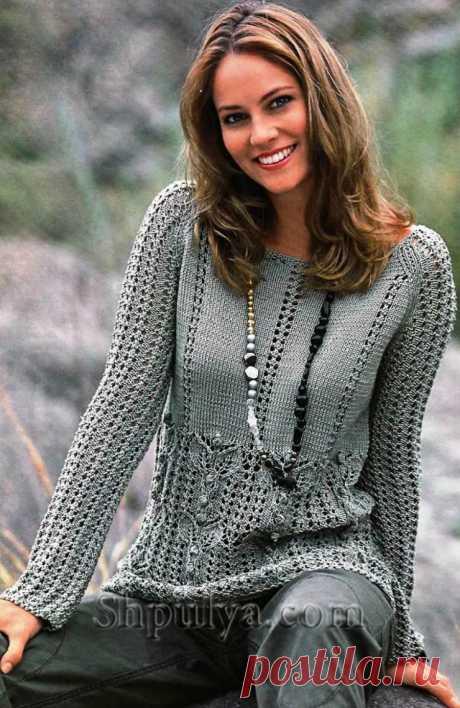 www.SHPULYA.com - Ажурный пуловер с узором из листьев