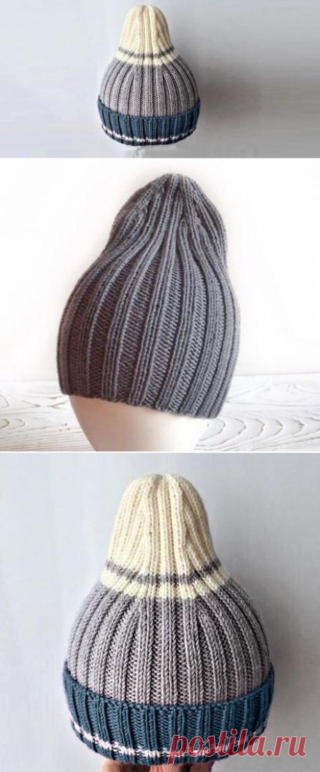 Очень просто связать шапку-резинку с модной макушкой | Идеи рукоделия | Яндекс Дзен