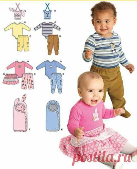 Комплект выкроек для малышей р.0-18мес. #выкройки #мастер_класс #шитье #идеи #моделирование