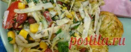 Салат с капустой и блинами - Диетический рецепт ПП с фото и видео - Калорийность БЖУ