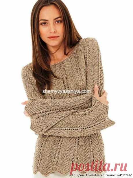 Пуловер узором ёлочка.