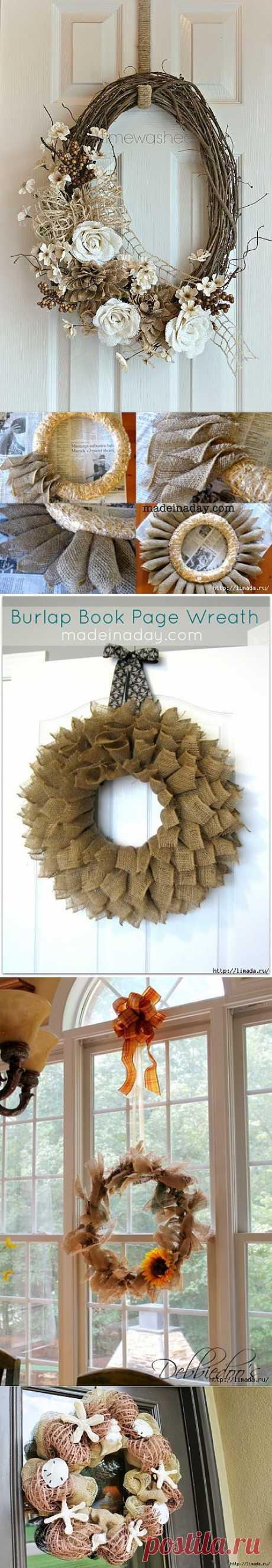 Las coronas hermosas con el uso de la arpillera.
