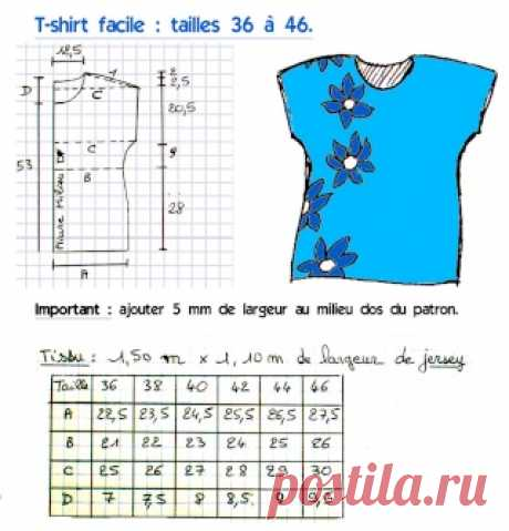 Patron: T-shirt facile (tailles 36 à 46) - La Bobine