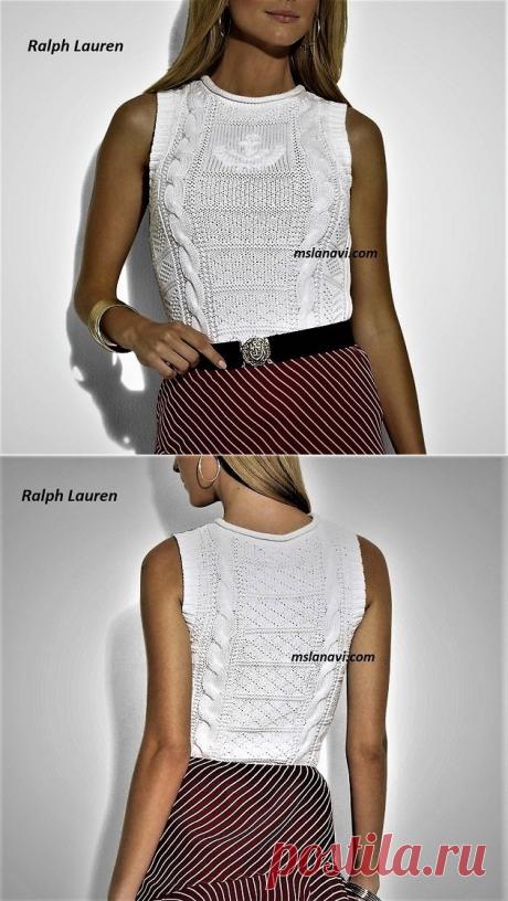 Нежный топ спицами от Ralph Lauren | Вяжем с Лана Ви