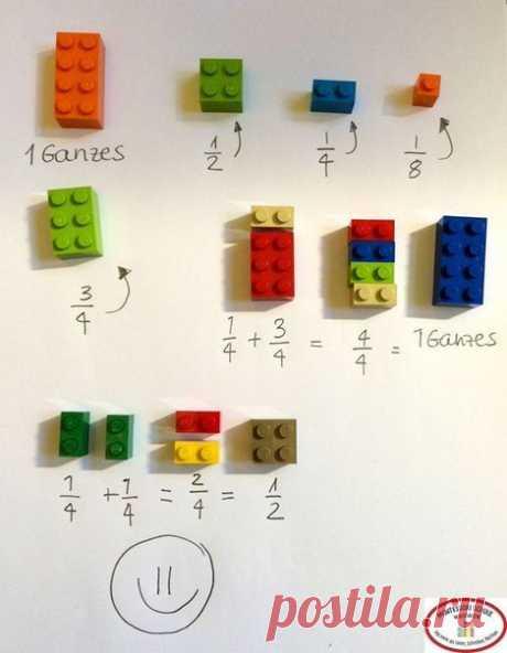 Как объяснить ребенку математику с помощью «Лего»: ↪