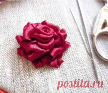 Вышивка розы лентами. Мастер-класс. ~ Свое рукоделие