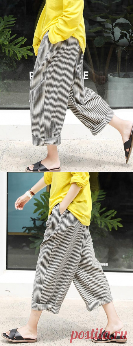 Women Linen striped pants Loose Wide Leg Trousers Pants With | Etsy